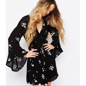 Free People Sexy Bell Sleeve Embroidered Dress NWT